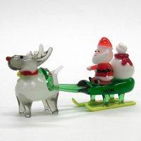 サンタそり&赤鼻のトナカイ ホワイト クリスマス ガラス細工 雑貨 置物