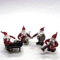 サンタクロース楽団 L 4P クリスマス ガラス細工 雑貨 置物