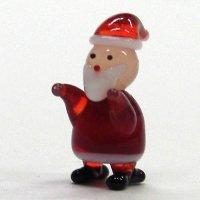 寒がりサンタさん 袖 クリスマス ガラス細工 雑貨 置物