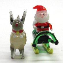 他の写真2: サンタそり&赤鼻のトナカイ ブラウン クリスマス ガラス細工 雑貨 置物
