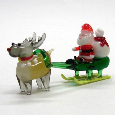 画像1: サンタそり&赤鼻のトナカイ ブラウン クリスマス ガラス細工 雑貨 置物