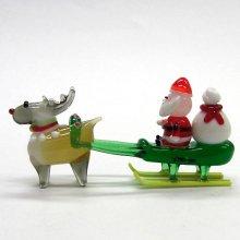 他の写真1: サンタそり&赤鼻のトナカイ ブラウン クリスマス ガラス細工 雑貨 置物