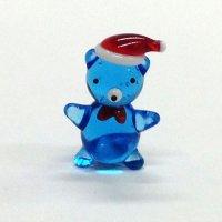 サンタ帽子のくまさん ブルー クリスマス ガラス細工 雑貨 置物