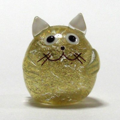画像1: 金箔ねこ 縁起物 ガラス細工 雑貨 置物