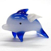 天使イルカ M 飛び ブルー ガラス細工 雑貨 置物