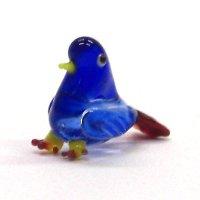 クリアバード ブルー 鳥 ガラス細工 雑貨 置物