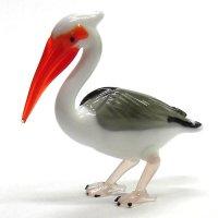 ペリカン L 鳥 ガラス細工 雑貨 置物