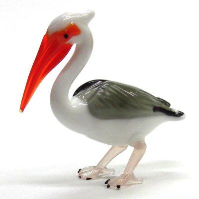 画像1: ペリカン L 鳥 ガラス細工 雑貨 置物