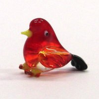 クリアバード レッド 鳥 ガラス細工 雑貨 置物