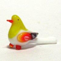 春に人気 動物のガラス細工 鳥(バード) オナガ S イエロー ガラス細工 雑貨 置物