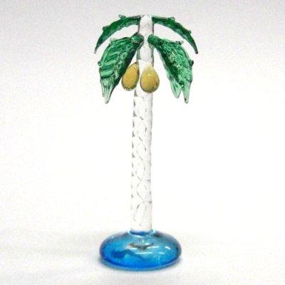 画像1: ヤシの木 L クリア 花 ガラス細工 雑貨 置物