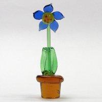 鉢花 ブルー 花 ガラス細工 雑貨 置物