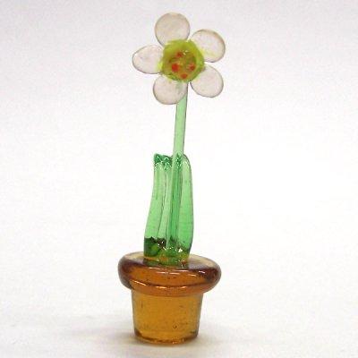 画像1: 鉢花 ピンク 花 ガラス細工 雑貨 置物
