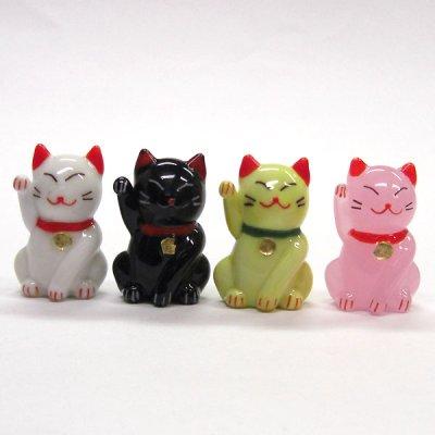 画像3: カラー招き猫 ホワイト ガラス細工 雑貨 置物