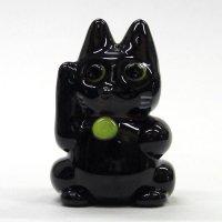 ネコのガラス細工招き猫 L 〜ブラック〜