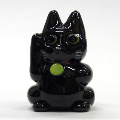 画像1: ネコのガラス細工招き猫 L 〜ブラック〜