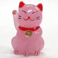 招き猫のガラス細工 カラー招き猫 ピンク