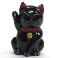 招き猫のガラス細工 カラー招き猫 ブラック