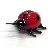 てんとうむし 薄い赤 昆虫 ガラス細工 雑貨 置物