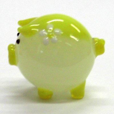 画像2: 花ぶた イエロー L ガラス細工 雑貨 置物