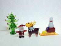 サンタそり&トナカイ おまけ付き クリスマス ガラス細工 雑貨 置物