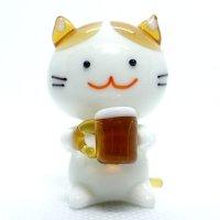 飲みネコ(白茶) 江の島ネコ ガラス細工 雑貨 置物