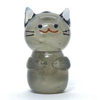 立ネコ(キジトラ)L 江の島ネコ ガラス細工 雑貨 置物