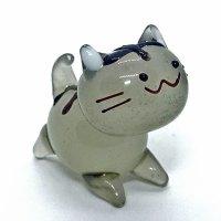 立ネコ 四足 (キジトラ) L 江の島ネコ ガラス細工 雑貨 置物