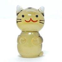 立ネコ(茶トラ)L 江の島ネコ ガラス細工 雑貨 置物