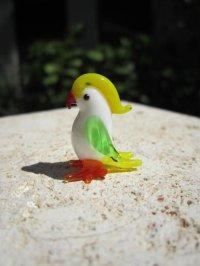 オウム イエロー 鳥 ガラス細工 雑貨 置物