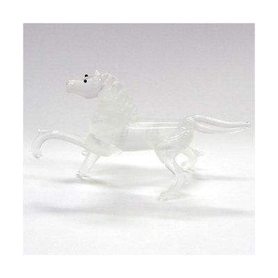 画像1: マーブル午 ホワイト ガラス細工 雑貨 置物