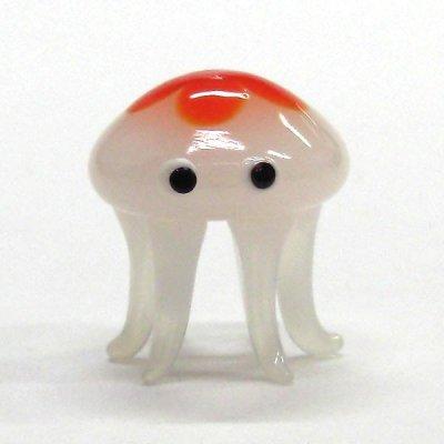 画像1: くらげ(海月) クラゲ L オレンジ ガラス細工 雑貨 置物