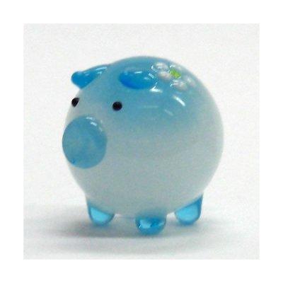 画像1: 花ぶた ブルー L ガラス細工 雑貨 置物