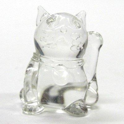 画像1: クリア招き猫 ガラス細工 雑貨 置物