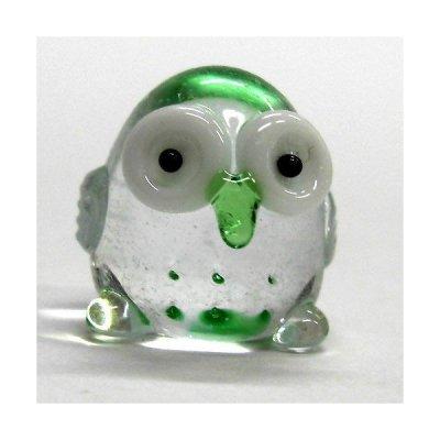 画像1: クリア七ふくろう グリーン ガラス細工 雑貨 置物