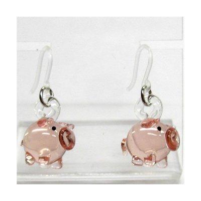 画像1: ピンクのブタさん ガラス細工 雑貨 ピアス