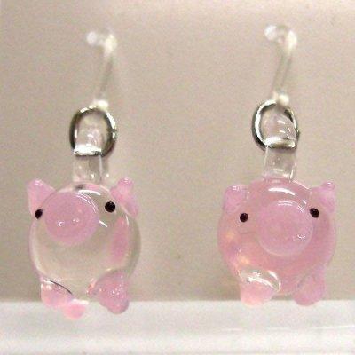 画像1: ガラス細工アクセサリー 動物ピアスぶた クリアブタさん ピンク ガラス細工 雑貨 ピアス