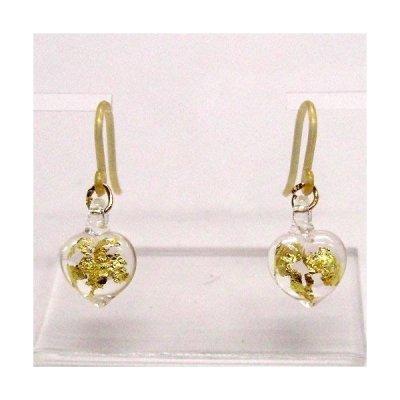 画像1: ハートのピアス 金箔ハート クリアピンク ガラス細工 雑貨 アクセサリー