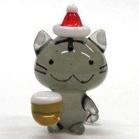乾杯ネコビール Xmasバージョン 灰トラ クリスマス ガラス細工 雑貨 置物
