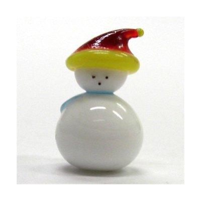 画像1: 帽子スノーマン レッド クリスマス ガラス細工 雑貨 置物